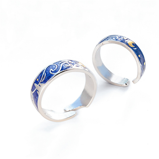 Moon Star Starry Night Van Gogh Adjustable Rings For Couple Lover's 925 Silver  2