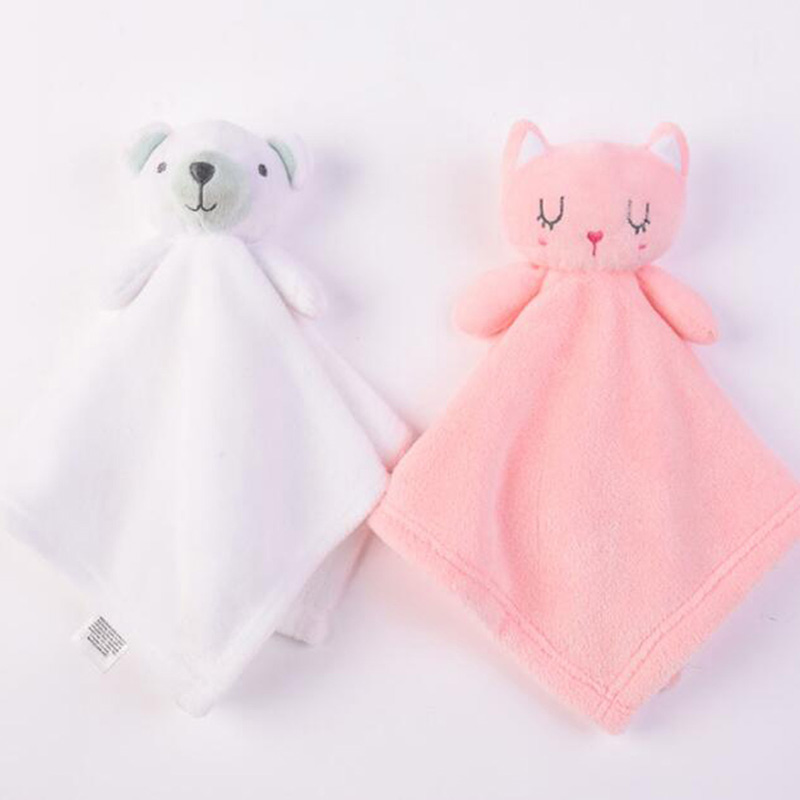 1PC Appease Towel Infant Coral Fleece Doll Sleep Peace Pad Lovely Cartoon Towel Soft Cotton With High Quality Best Gift