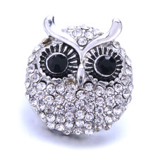 1PCS New Big Snap Button Jewelry Crystal Rhinestone Owl Snap Buttons Fit 18mm Snap Bracelet Bangle DIY Button Jewelry 6pcs lot 2019 new snap jewelry mixed colorful rhinestone crystal 18mm snap button jewelry fit snap bracelet diy charms jewelry
