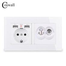 COSWALL Russia Spagna UE Standard di Presa A Muro 2 Porta USB di Ricarica Hidden LED + Satellite Jack Con La Femmina Connettore TV pannello di vetro