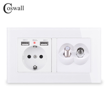 COSWALL Russia Spain EU Standard Wall Socket 2 USB Charge Port Hidden LED + Satellite Jack With Female TV Connector Glass Panel
