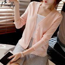 PEONFLY Elegant Ruffle Knitted Cardigan Women Coat Solid 2020 Spring Fashion V Neck Long Sleeve Sweater Coat Tops Femme Red Pink