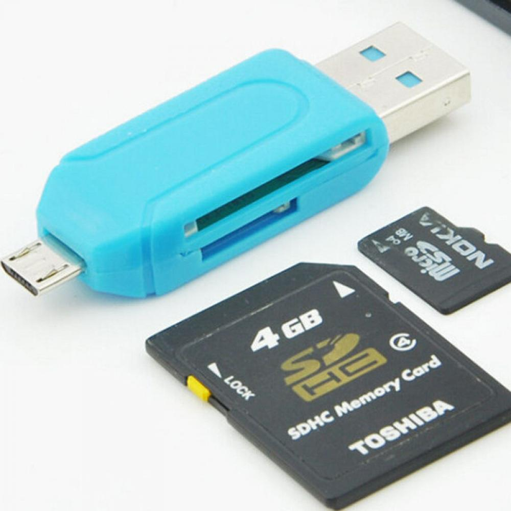 1PCS 4 In 1 Micro USB +USB 2.0 OTG Adapter SD T-Flash Memory Card Reader For Smart Phone Computer 480Mpb/s