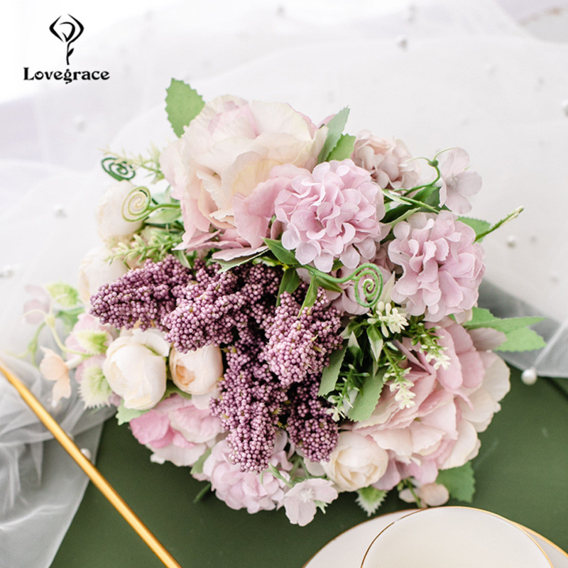 Silk Peony Hydrangea Bouquet Artificial Flower Fake Rose Wedding Bride Bouquet Decor For Home Hotel Table Accessories Silk Flore