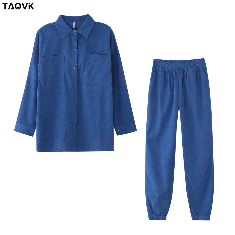 TAOVK Women's tracksuit corduroy  Pinstripe Single-breasted pocket Tops and pants women suits 15