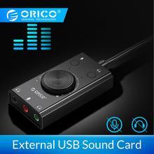 ORICO, внешняя USB звуковая карта, стерео микрофон, динамик, гарнитура, аудио разъем, 3,5 мм, кабель, адаптер, отключение звука, регулировка громкости, свободный привод