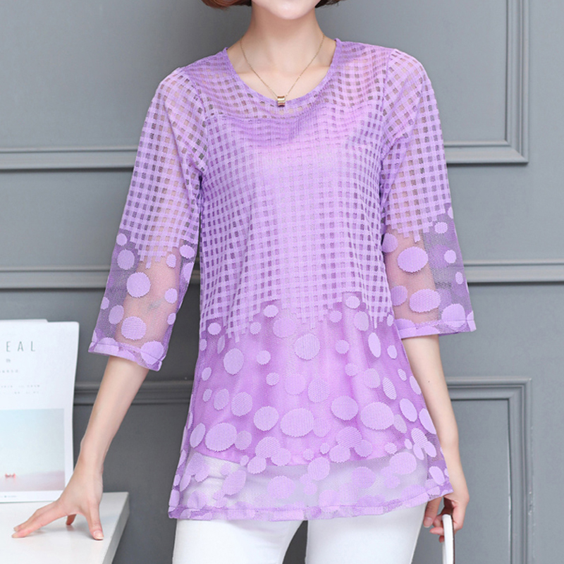 Women Summer   Blouses     shirt   Chiffon Ladies Tops 2020 New Fashion Camisas Mujer Plus Size M-5XL White Pink Purple Lace   Blouses   11E