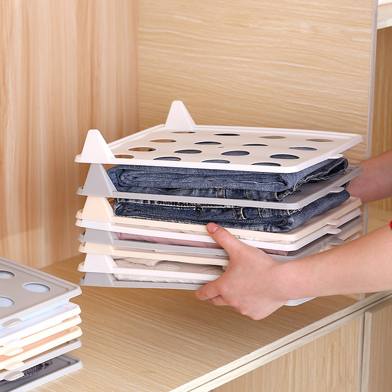 5pcs Detachable Clothing Storage Board Stackable <font><b>Organizer</b></font> <font><b>for</b></font> T-<font><b>shirts</b></font> Home Storage Organization Space Separation Tool image