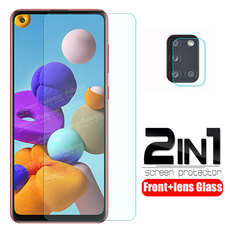 """2-in-1 camera Glass For samsung a21s Glass screen protector For samsung galaxy a21s a 21s a217F 6.5"""" 2020 protective phone Film"""