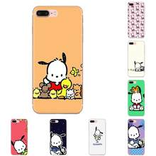 Soft TPU Pattern For Galaxy Grand A3 A5 A7 A8 A9 A9S On5 On7 Plus Pro Star 2015 2016 2017 2018 Cute Cartoon Black Pochacco Dog(China)