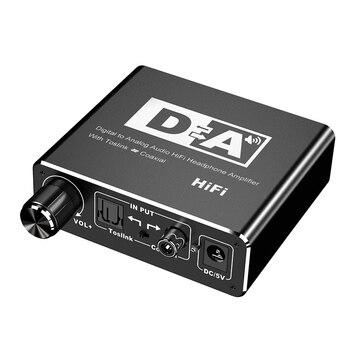 Digital to Analog Converter DAC Optical Fiber Toslink Coaxial Bi-directional Switch RCA 3.5mm Jack Audio Adapter free shipping optical coaxial rca l r digital to analog audio converter