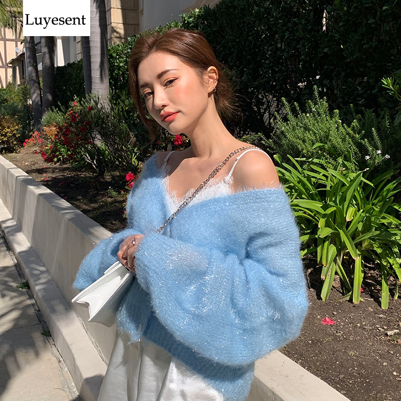Blue Lurex Shining Bright Silk Women Cardigans Sweater 2019 Lady Deep V Neck Buttons Lantern Sleeve Loose Sexy Top Warm Jumpers