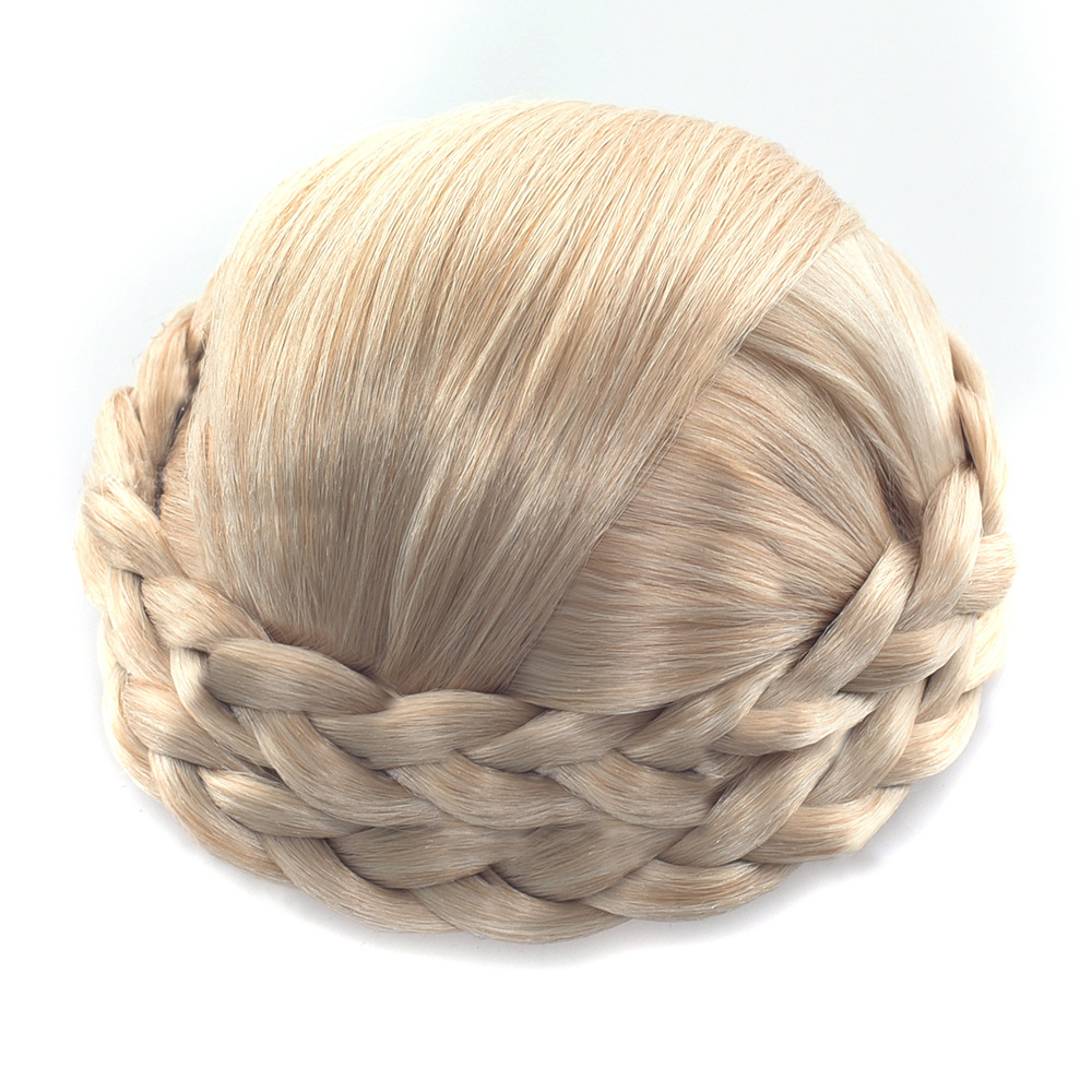 Gres Heat Resistant Fiber Black/ Light Brown/Blond Women Synthetic Hair Buns Clip-in Braided Lady Chignons For Party