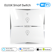 Smart light Switch Wall EU Glass Panel 2 Gang Wifi  Mobile APP Remote Control Work with Amazon Alexa Google Home No Hub required eu wifi smart 3 gang wall light switch white panel touch screen sensor switch for amazon alexa google home timer app function s3
