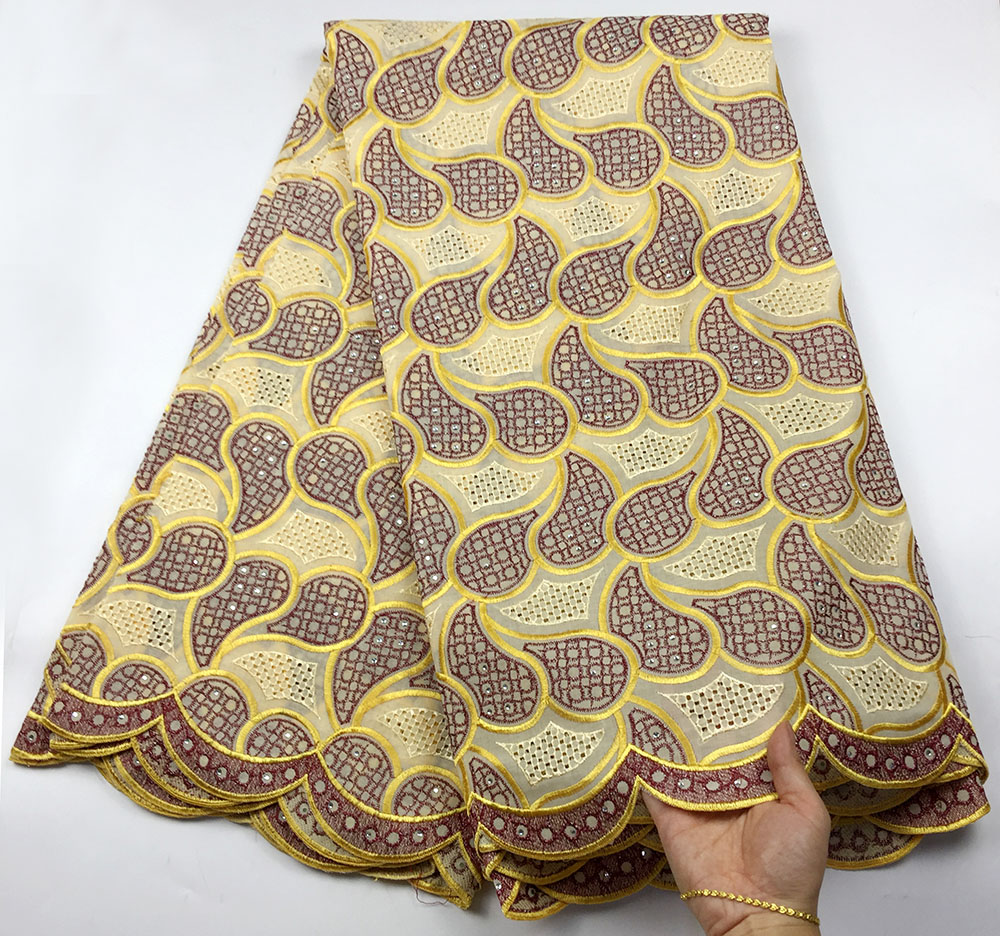 Embroidery Flower Pattern Cotton Lace Fabrics Hollow Out Swiss Voile Lace for African Party Dry Lace