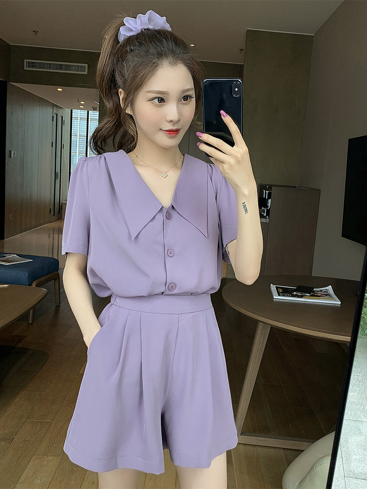 Small Child God Suit New Purple Short-sleeved Doll Collar Shirt With Wide-leg Shorts Two-piece Tide
