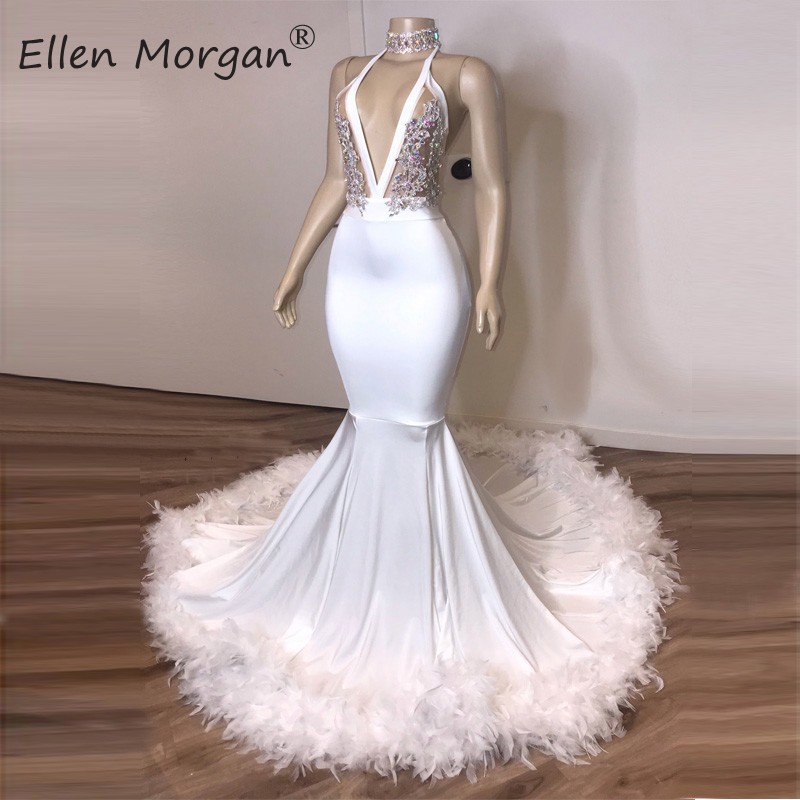 White Mermaid Long Prom Dresses 2020 Sexy Halter Backless Feather Crystals Real Photos Party Gowns For African Black Girls