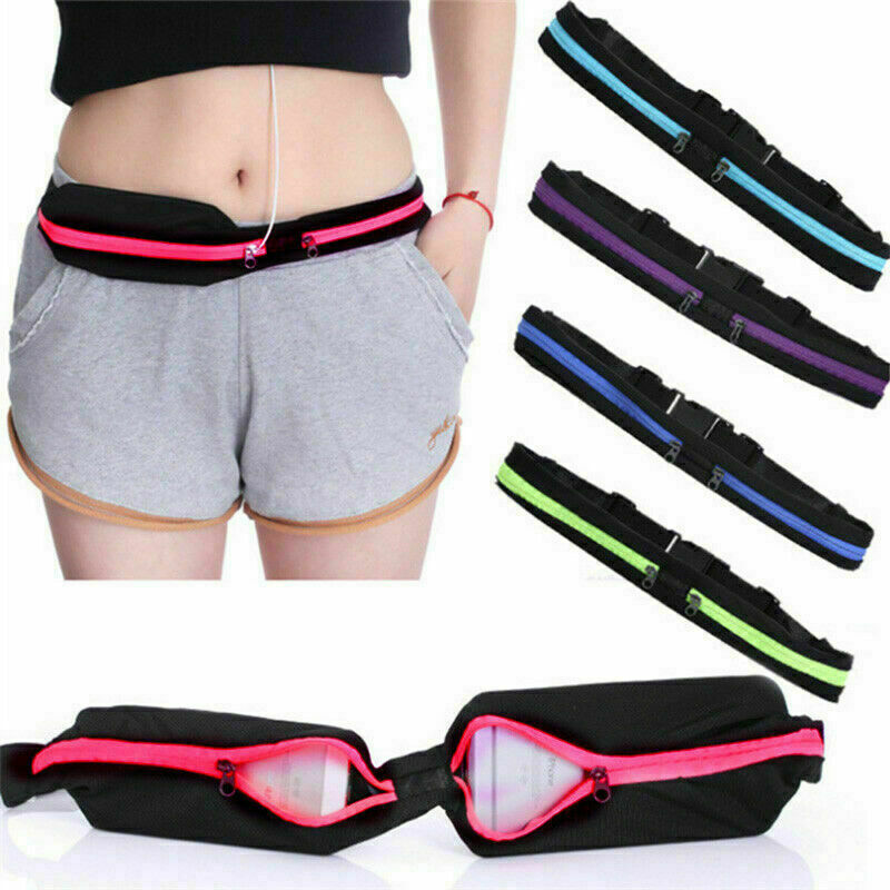 Dual Pocket Running Runner Waist Belt Bag Pack Pouch Bum Sport Jogging Gym Fitness Casual Waterproof Adjustable Unisex Waist Bag