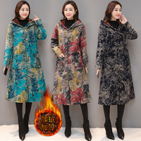 3206 Winter New Style Large Size Retro National Style Printed Cotton Linen Brushed And Thick Frog Hat Coat Women's