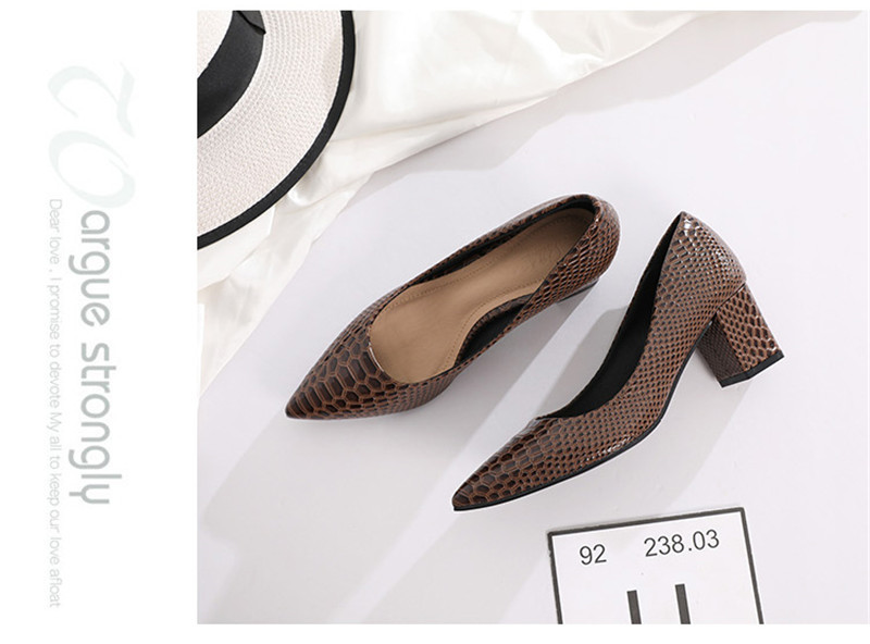2020 New Women's Pumps Shoes Thick Heels Single Female Pumps Shoes Woman Korean Crocodile Pattern Leather Office Lady Work Shoes (18)
