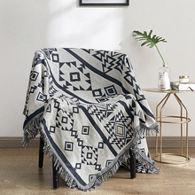 100%Cotton Blankets Towel Chair Throws Sofa-Bed Geometric-Printed Knitted Home-Decor
