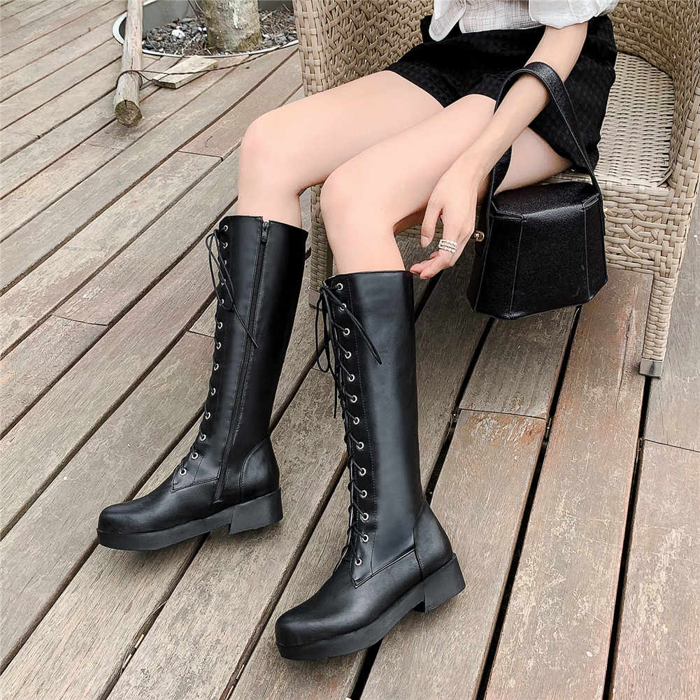 BONJOMARISA 33-43 Elegant LACE-up แพลตฟอร์มขี่ลูกวัวรองเท้าผู้หญิง 2020 ฤดูหนาวสีดำเพิ่มรองเท้าบูทรองเท้าผู้หญิง