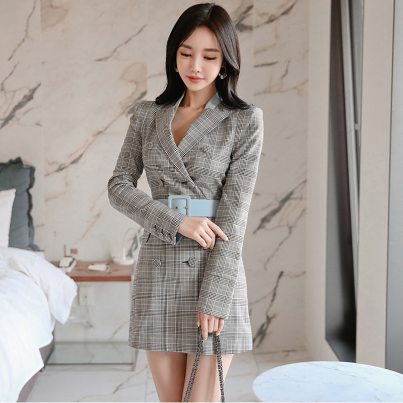 Vintage Double-breasted Belted Plaid Blazer Dress Women Elegant Ladies High Waist Short Dress Female Blazer Vestidos 2019