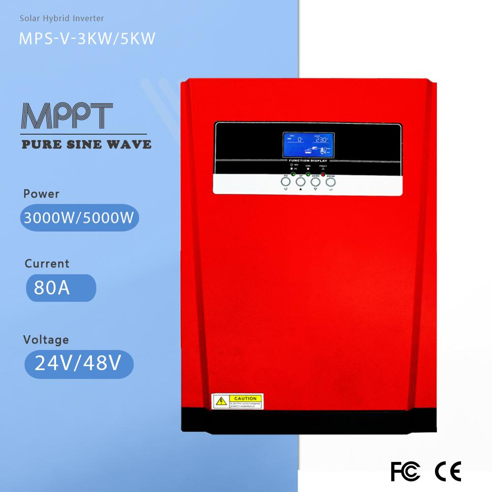 MPPT 80A 3000W 5000W wszystko W jednym solarnym hybrydowym czysta fala sinusoidalna falownik i Regulator 24V 48V 220V 50Hz 60Hz Auto ustawienie priorytetu