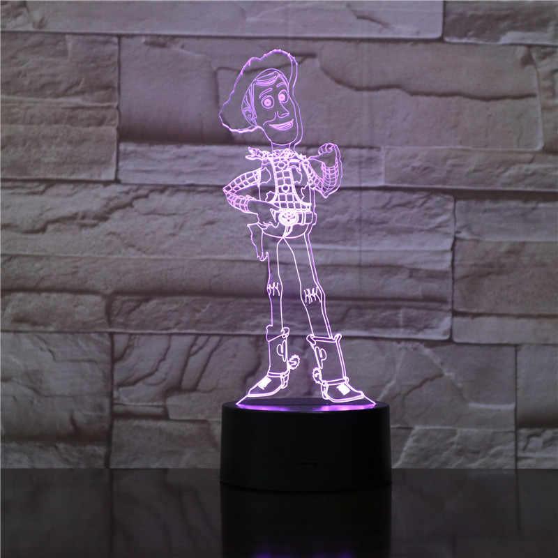 Cartoon סרט צעצוע Story4 באז שנות אור וודי 3D LED RGB לילה אורות 7 צבע שינוי מנורת שולחן USB פעולה צעצוע עבור Childern מתנות