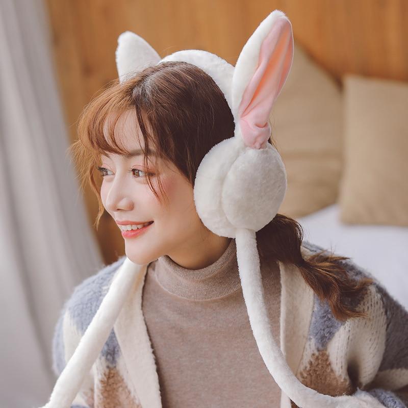 Winter Fluffy Plush Headband Cute Moving Airbag Rabbit Ears Ear Warm Windproof Women Girls Hair Hoop Party Newyear Gift Toy