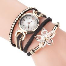Rhinestone Bracelet Watches Clock Women Ladies Luxury Relogio with Quartz Flower-Pendant
