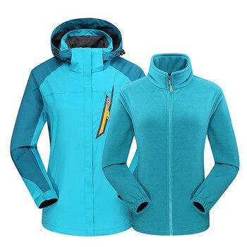 Women's Winter Ski Jackets Outdoor Sports Mountain Skiing Snowboard Two Piece 3 in 1 Warm Waterproof Breathable Fleece Coat