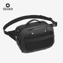 OZUKO Multifunction Waist Bag Men Waterproof USB Charging Belly Belt Bags Male Short Travel Large Capacity Fanny Pack Chest Bag