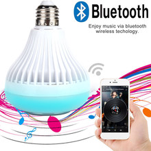 LED Music Bulb Speaker E27 Wireless Bar KTV Gift Loudspeaker Bluetooth 4.0 RGB 12W Lamp Home Colorful Audio APP Control Light(China)