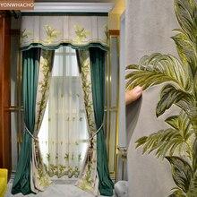 Занавески на заказ, американская роскошь, высокое качество, для гостиной, синяя вышитая Бархатная ткань, затемненная занавеска, тюль, балдахин, драпировка, B668