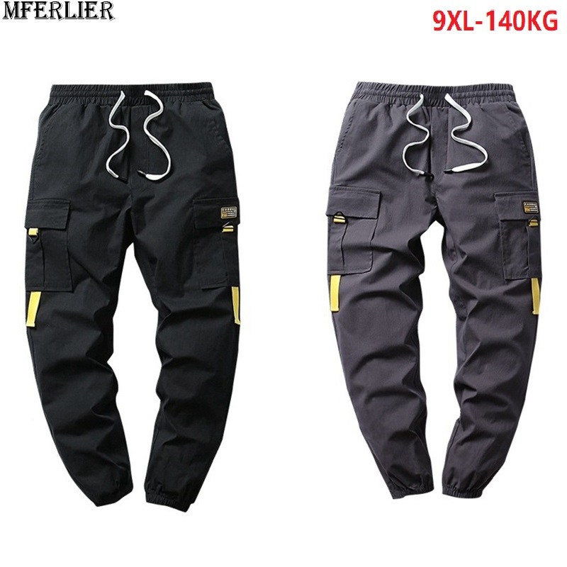 Autumn Men Cargo Pants Pocket Elastic Waist Pants Spring High Street Plus Size 6XL 7XL 8XL 9XL Man Cool Sports Pants Elasticity