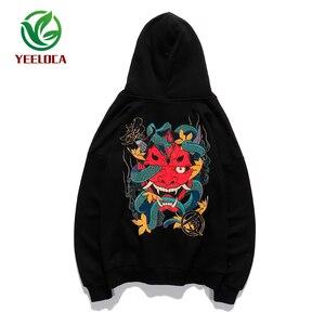 Image 1 - 2019 Hip Hop Hoodie Sweatshirt Mannen Casual Herfst Katoen Snake Print Devil Top Kwaliteit Harajuku Zwart Tops