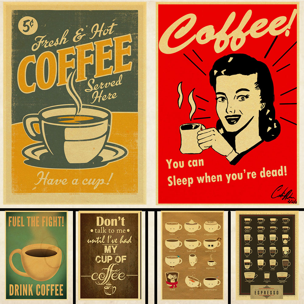 classic coffee vintage poster bars cafe kitchen coffee making manuals retro kraft paper print wall adornment vintage wall poster