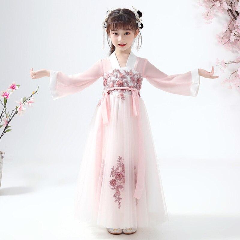 Chinese Dress Girls Hanfu Super Fairy Little Girl Tang Costume Chest Dress Skirt Chinese Hanfu Kids Costume Cosplay Dress