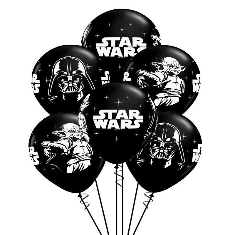 5 шт./лот черно-белые латексные воздушные шары из фильма «Звездные войны», пиратские тематические Поклонники фильмов, украшения для вечевеч...