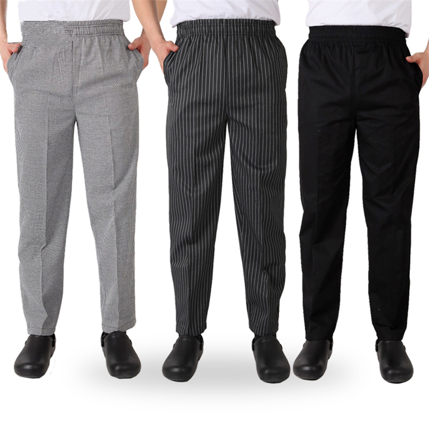Men Chef Cook's Uniform Loose Kitchen Trousers Stripe Plaid Restaurant Long Lace Pants For Mens Chef Catering Cook Bottoms