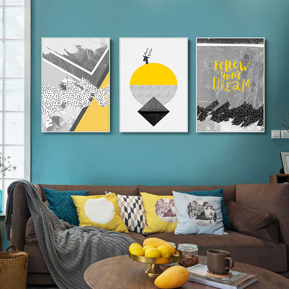 Nordic Yellow And Geometry Wall Art Canvas Painting Nordic Posters And Prints Wall Painting Living Room Aesthetic Room Decor