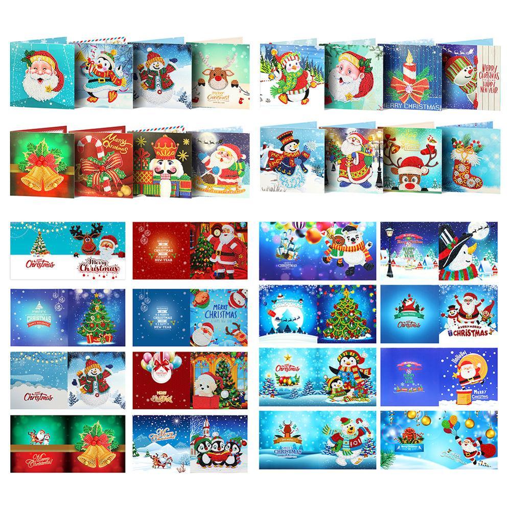 8 шт 5D DIY алмазная живопись поздравительная открытка Санта Клаус рождественские открытки Рождественская Алмазная вышивка карты на день рождения, подарок на Рождество|Алмазная мозаика|   | АлиЭкспресс