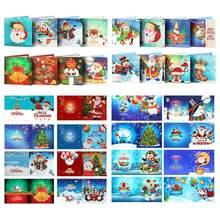 8 pçs 5d diy pintura diamante cartão de natal cartões de natal de papai noel cartões de natal bordados de diamante presente de natal de aniversário