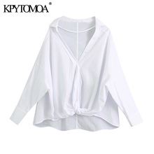 KPYTOMOA Women 2020 Fashion With Knot Loose Irregular Blouses Vintage Long Sleeve Button-up Female Shirts Blusas Chic Tops