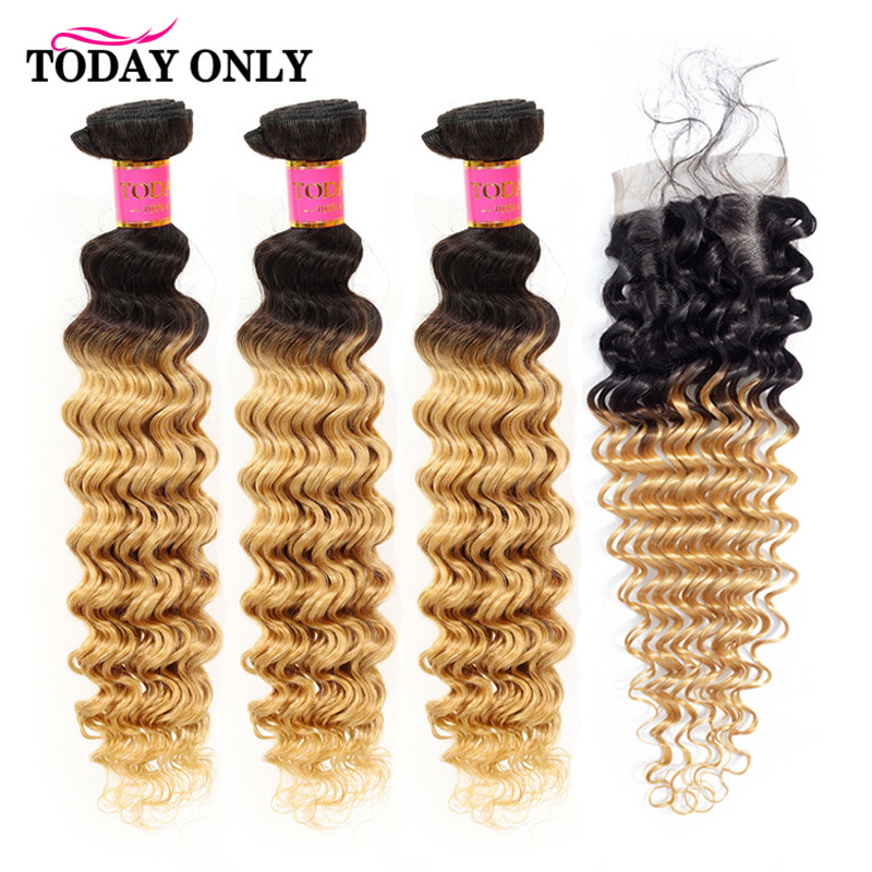 TODAY ONLY Peruvian Deep Wave 3 Bundles With Closure Ombre Blonde Bundles With Closure Human Hair Bundles With Lace Closure Remy