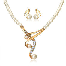 Elegant Simulated Pearl Bridal Jewelry Sets Wedding Crystal Gold Necklaces Earrings Valentines Day Gift