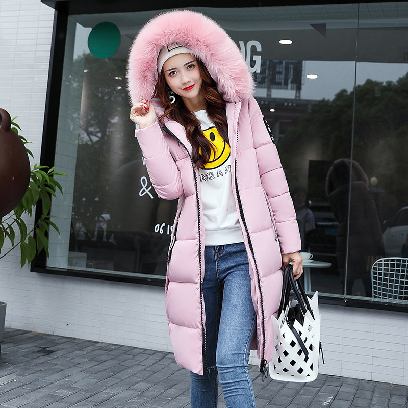 Clearance Winter Style Korean-style Hooded Slim Fit Large Fur Collar Medium-length WOMEN'S Cotton-padded Clothes Thick Jacket