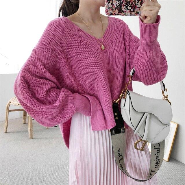 Фото вязаные свитера для женщин осень wnter новые корейские элегантные