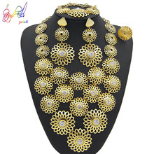 Yulaili Trendy Flower Shape Crystal Pendant Necklace Earrings Bracelet for Women Party Wedding Accessories Dubai Jewelry Sets